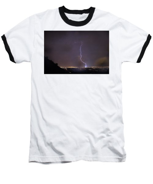 Baseball T-Shirt featuring the photograph It's A Hit Transformer Lightning Strike by James BO Insogna