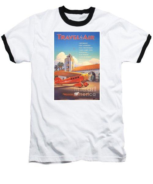 Travel By Air Baseball T-Shirt by Nostalgic Prints