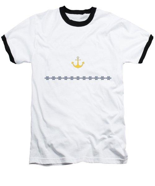 Treasure Knot With Yellow Anchor 2 Baseball T-Shirt