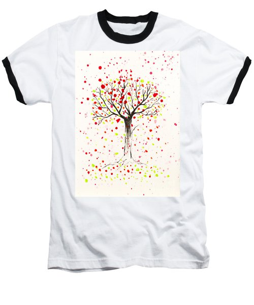 Tree Explosion Baseball T-Shirt by Stefanie Forck