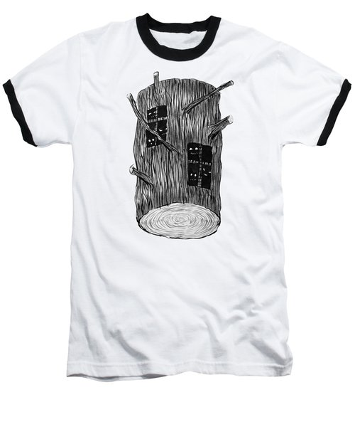 Tree Log With Mysterious Forest Creatures Baseball T-Shirt