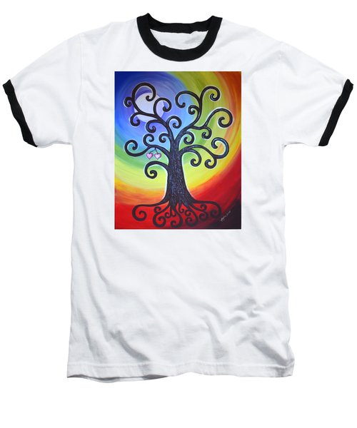 Baseball T-Shirt featuring the painting Tree Of Life Love And Togetherness by Agata Lindquist