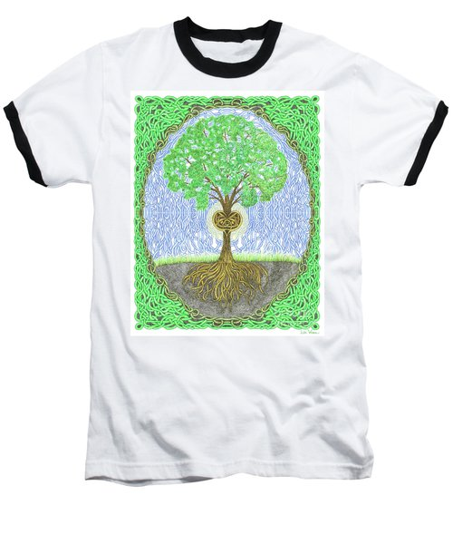 Tree With Heart And Sun Baseball T-Shirt by Lise Winne