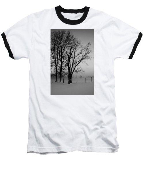 Trees In The Fog Baseball T-Shirt by Karen Harrison