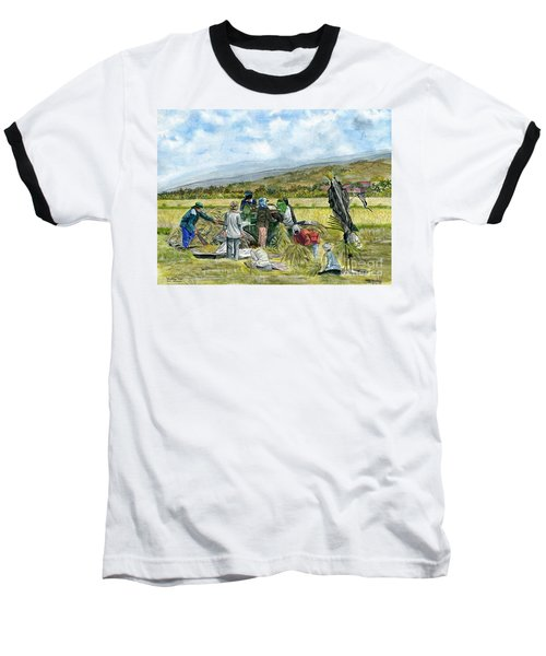 Baseball T-Shirt featuring the painting Treshing Rice by Melly Terpening