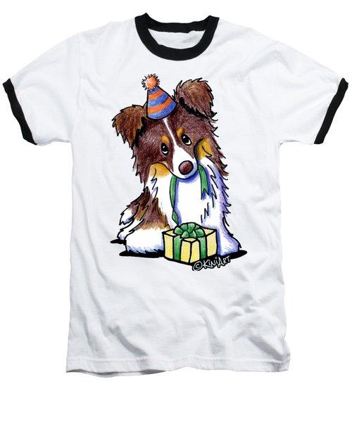 Tri Chocolate Border Collie Baseball T-Shirt
