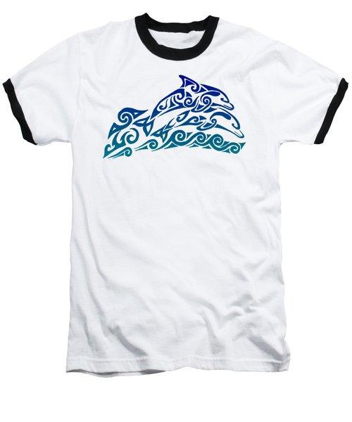 Tribal Dolphins Baseball T-Shirt by Rebecca Wang