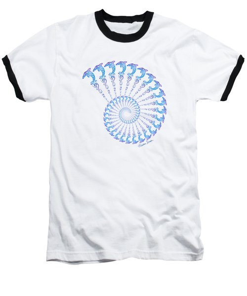 Tribal Dolphin Spiral Shell Baseball T-Shirt