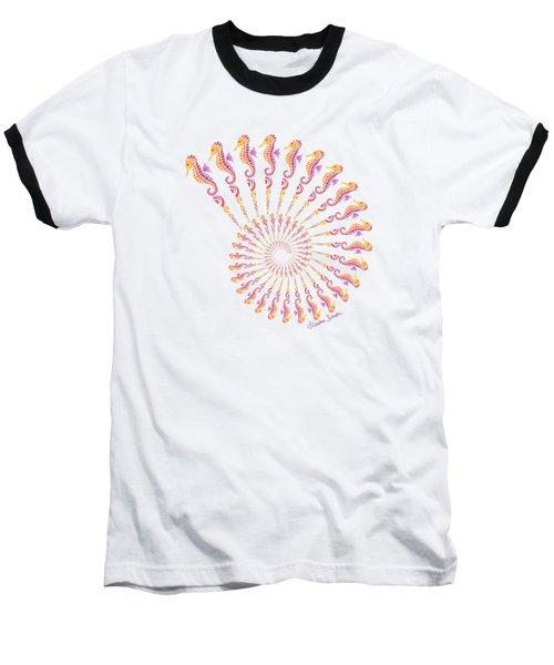 Tribal Seahorse Spiral Shell Baseball T-Shirt