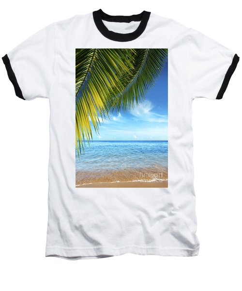 Tropical Beach Baseball T-Shirt by Carlos Caetano