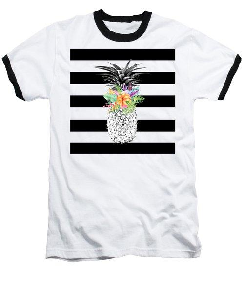 Tropical Flower Pineapple Black And White Stripes Baseball T-Shirt by Dushi Designs