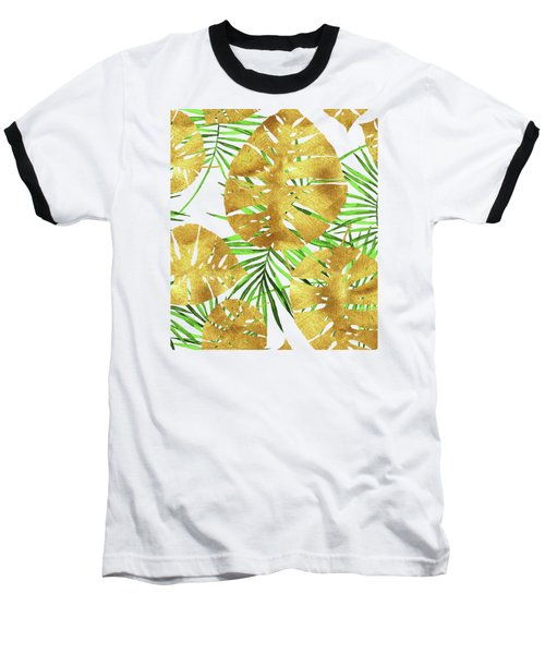 Tropical Haze II Gold Monstera Leaves And Green Palm Fronds Baseball T-Shirt