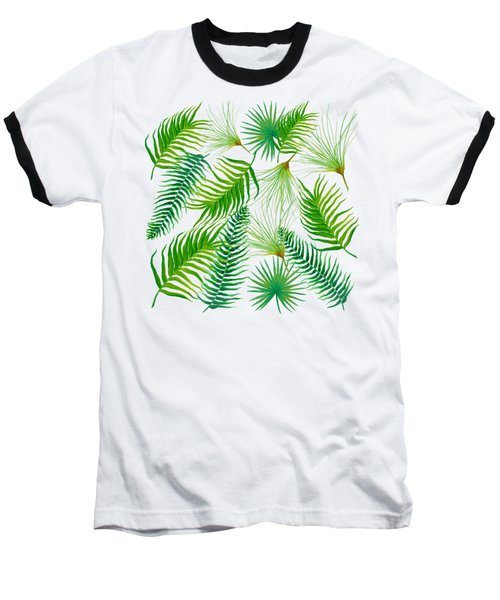 Tropical Leaves And Ferns Baseball T-Shirt by Jan Matson