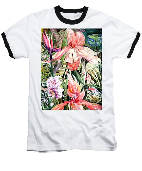 Tropical Orchids Baseball T-Shirt by Mindy Newman