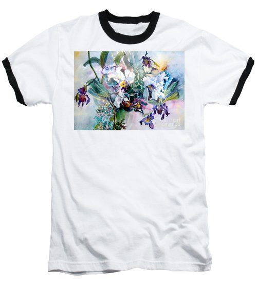 Tropical White Orchids Baseball T-Shirt