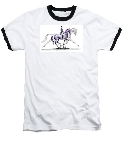 Trot On - Dressage Horse Print Color Tinted Baseball T-Shirt by Kelli Swan