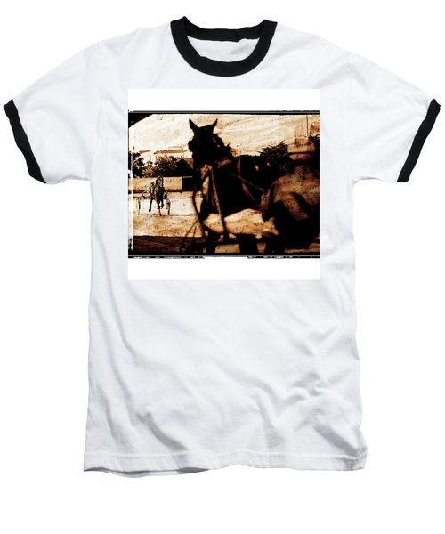 Baseball T-Shirt featuring the photograph trotting 1 - Harness racing in a vintage post processing by Pedro Cardona