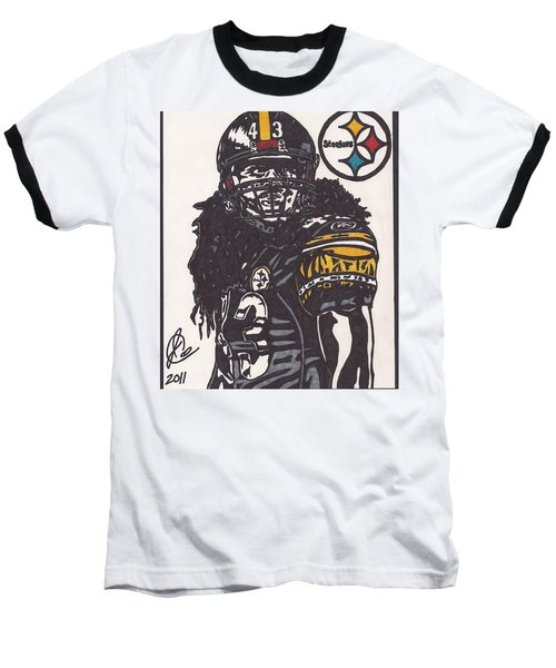 Baseball T-Shirt featuring the drawing Troy Polomalu 1 by Jeremiah Colley