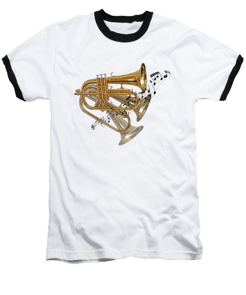Trumpet Fanfare Baseball T-Shirt by Gill Billington