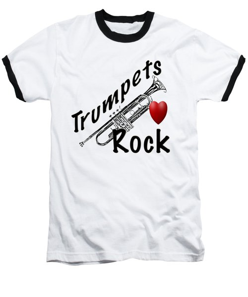 Trumpets Rock Baseball T-Shirt by M K  Miller