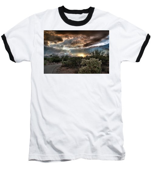 Baseball T-Shirt featuring the photograph Tucson Mountain Sunset by Lynn Geoffroy