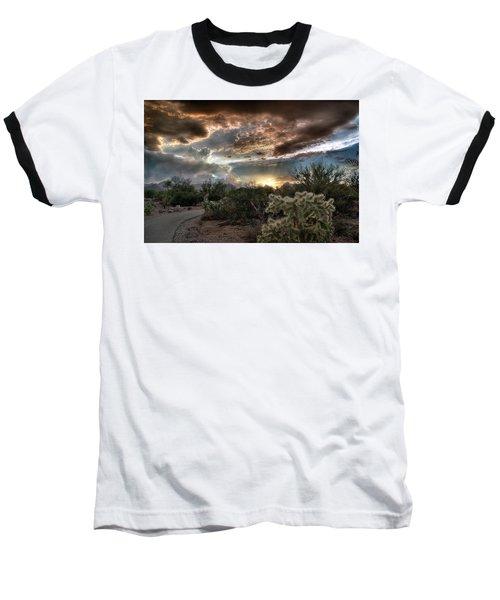 Tucson Mountain Sunset Baseball T-Shirt