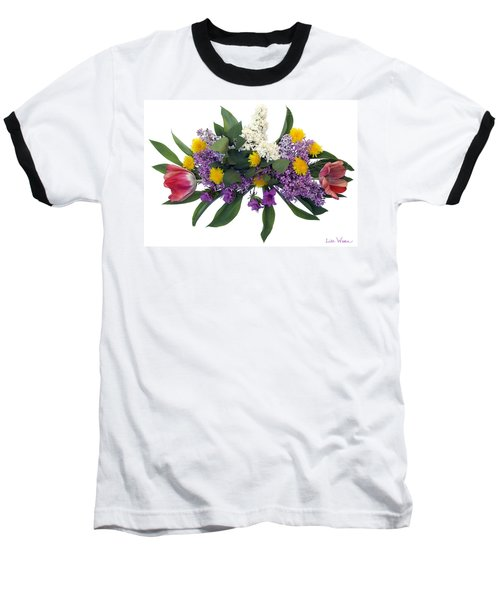 Tulip Lilac And Dandelion Bouquet Baseball T-Shirt by Lise Winne