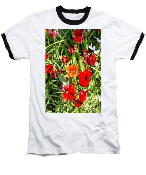 Baseball T-Shirt featuring the photograph Tulip - The Orange One 03 by Arik Baltinester