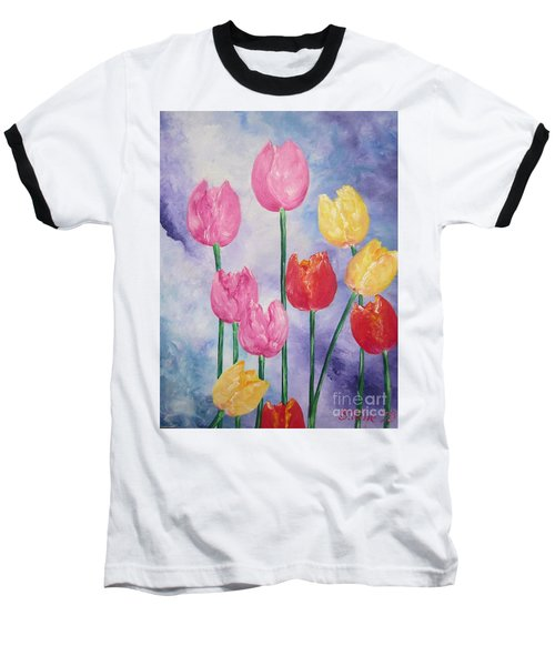 Baseball T-Shirt featuring the painting Tulips - Red-yellow-pink by Sigrid Tune