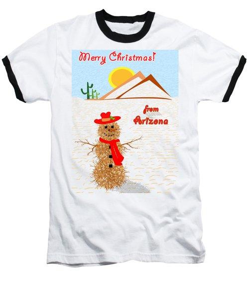 Tumbleweed Snowman Christmas Card Baseball T-Shirt by Methune Hively
