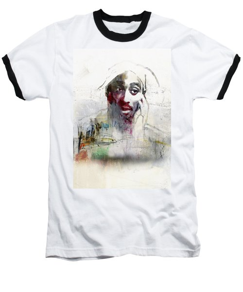Tupac Graffitti 2656 Baseball T-Shirt by Jani Heinonen