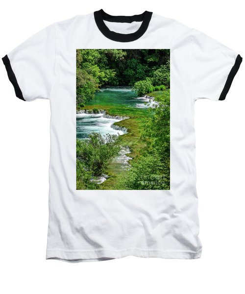 Turqouise Waterfalls Of Skradinski Buk At Krka National Park In Croatia Baseball T-Shirt