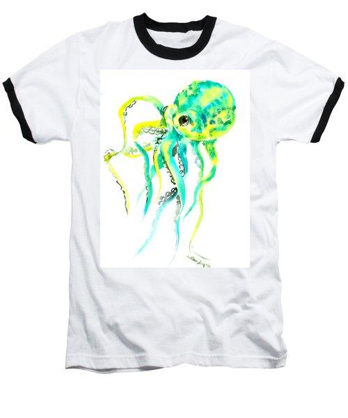 Turquoise Green Octopus Baseball T-Shirt by Suren Nersisyan