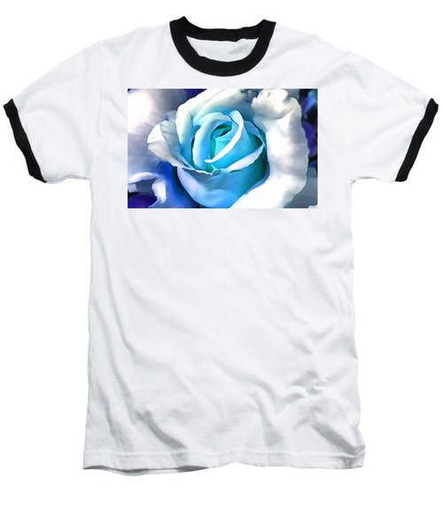 Turquoise Rose Baseball T-Shirt