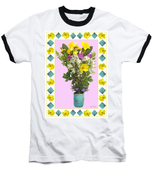 Turquoise Vase With Spring Bouquet Baseball T-Shirt by Lise Winne