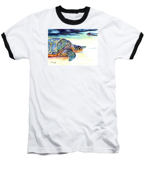 Baseball T-Shirt featuring the painting Turtle At Poipu Beach 2 by Marionette Taboniar