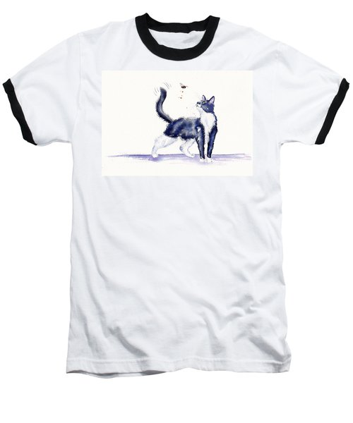 Tuxedo Cat And Bumble Bee Baseball T-Shirt
