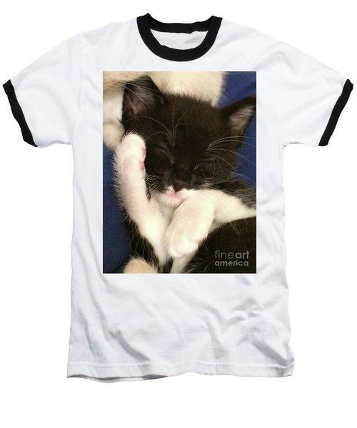 Tuxedo Kitten Snoozing Baseball T-Shirt