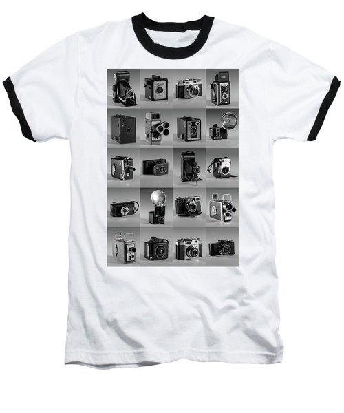 Twenty Old Cameras - Black And White Baseball T-Shirt