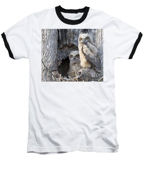 Baseball T-Shirt featuring the photograph Twin Owls by Jeanette Oberholtzer