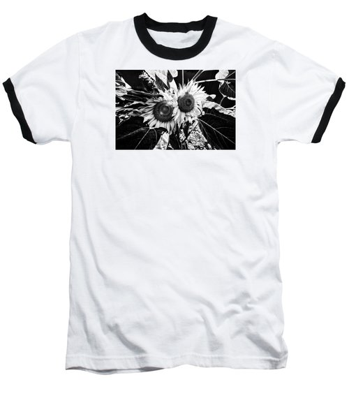 Twin Sunflowers Baseball T-Shirt by Kevin Cable