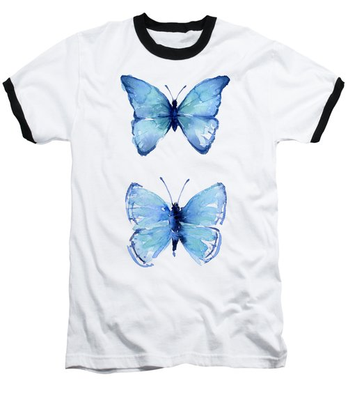Two Blue Butterflies Watercolor Baseball T-Shirt
