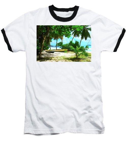 Two Boats On Tropical Beach Baseball T-Shirt