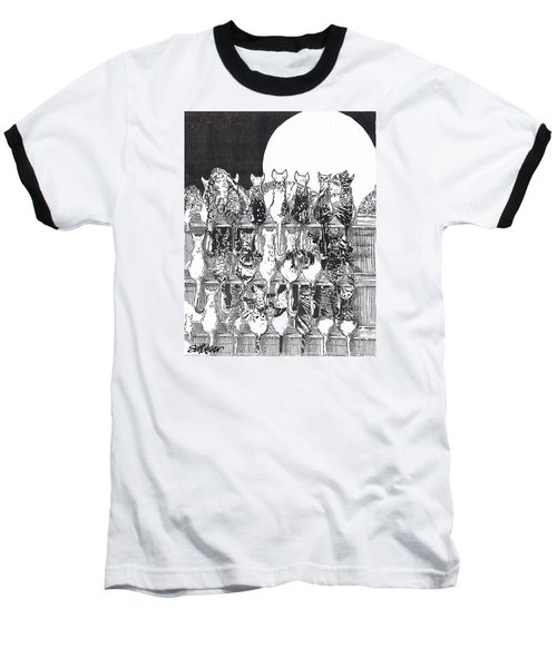 Baseball T-Shirt featuring the drawing Two Dozen And One Cats by Seth Weaver