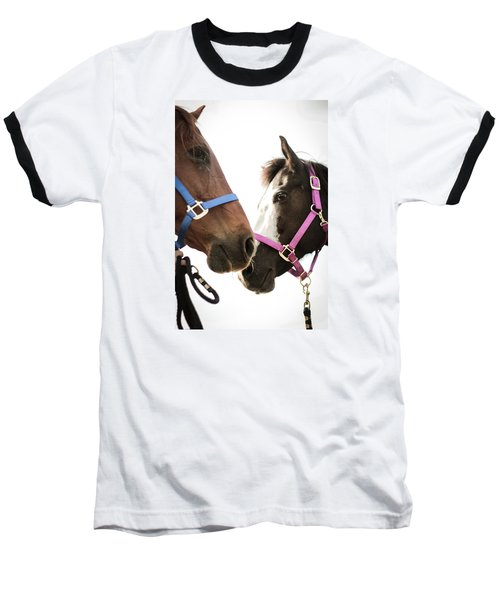 Two Horses Nose To Nose In Color Baseball T-Shirt