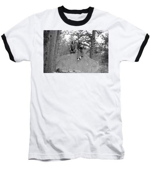 Two Men On A Boulder In The American West, 1972 Baseball T-Shirt