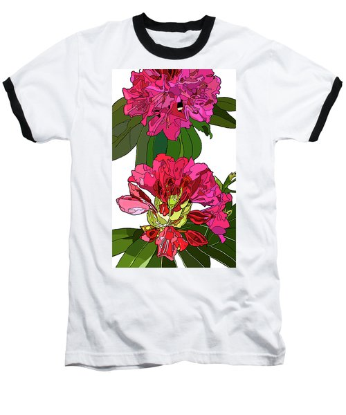 Two Rhododendrons Baseball T-Shirt by Jamie Downs