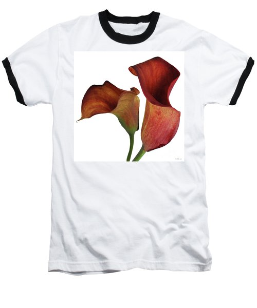 Two Rust Calla Lilies Square Baseball T-Shirt