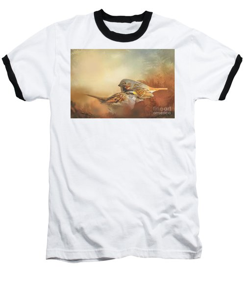 Sparrows In The Marsh 2 Baseball T-Shirt by Janette Boyd
