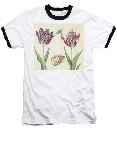 Two Tulips A Shell And A Grasshopper Baseball T-Shirt